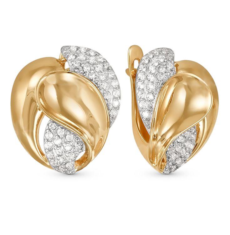 Золотые серьги DEL'TA 122503*: розовое золото — купить в интернет-магазине SUNLIGHT, фото, артикул 39772