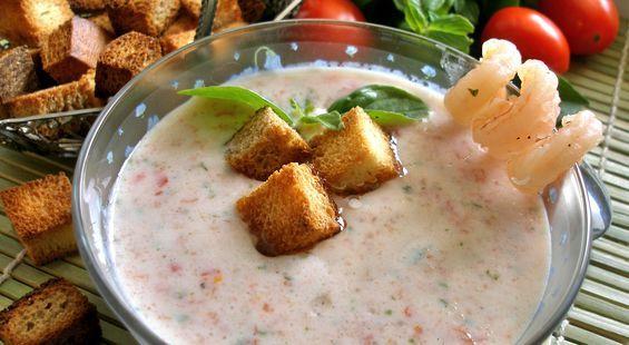 """Йогуртовый суп с базиликом и помидорами черри (""""Холодные супы"""")"""
