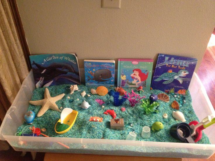 Our Summer sensory bin. Ocean themed. Blue shades of rice ...