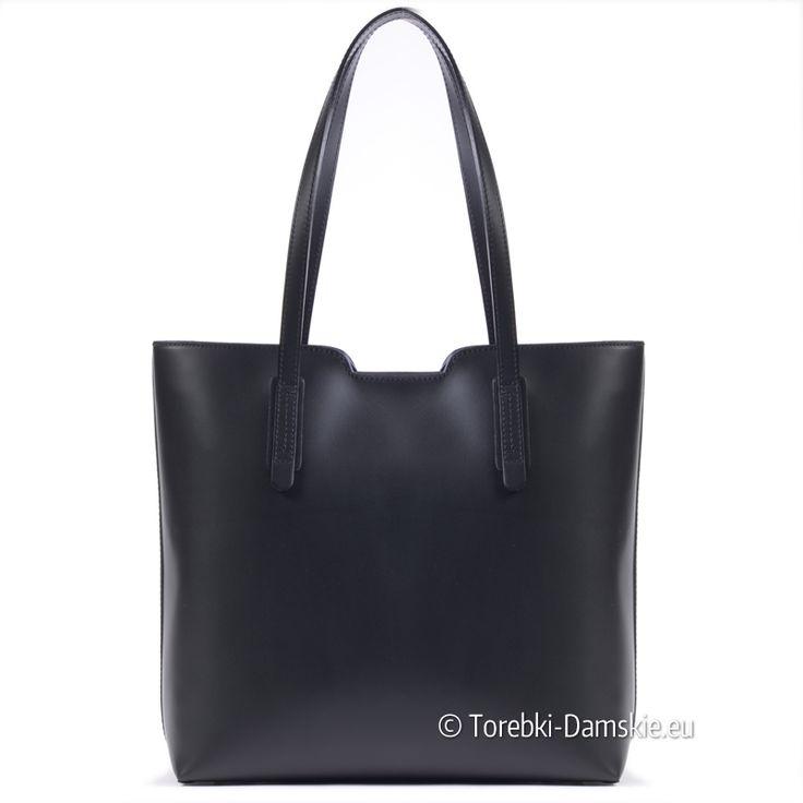 Klasyczny shopperbag produkcji włoskiej - 100% skóra NATURALNA. Model mieści A4, do noszenia na ramieniu w promocyjnej cenie z darmową wysyłką. Wszystkie zdjęcia - > Kliknij http://torebki-damskie.eu/skorzane/1338-skorzany-shopper-duza-czarna-torba-damska.html