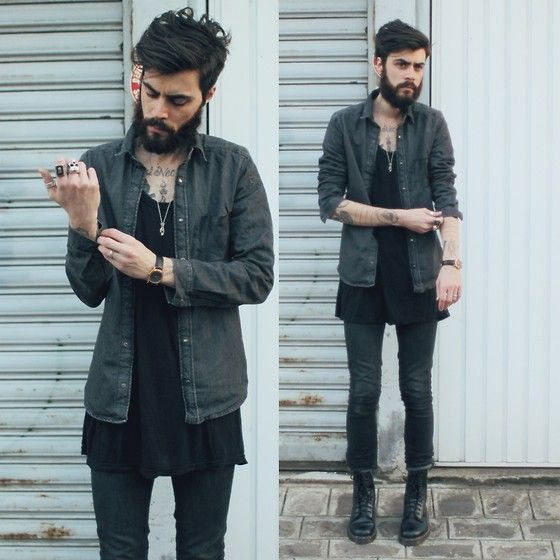 Tony Stone - Dr. Martens Black Boots, American Apparel Black Big Tee - Soft Hands