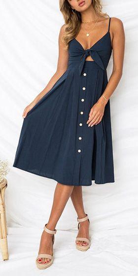 802a61c4e5 Compre Vestido Evasê Midi Alça Com Nó No Decote - 7 cores