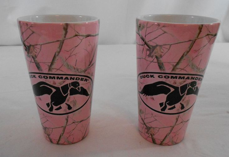 Duck Commander Latte Mugs Cups Set of 2 Pink Camouflage Tall Coffee  #DuckCommander