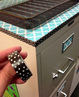Covering a filing cabinet or bookcase in your classroom? Use contact paper, but then really add the pro touch by edging with washi tape!