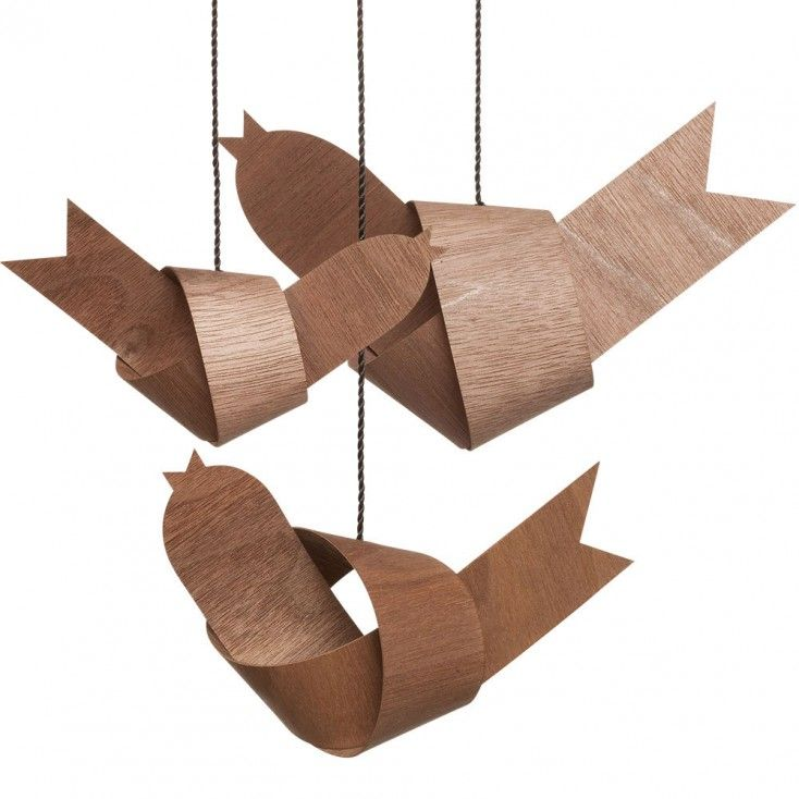 Walnut Decorative Bird Family