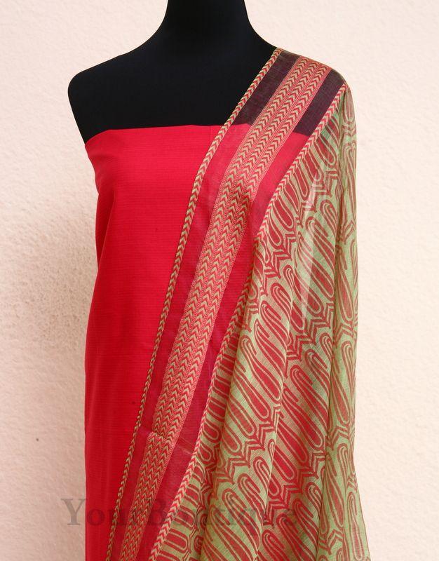 TM041-5 Maheshwari silk dupatta. Maheshwari cotton top and cotton bottom.
