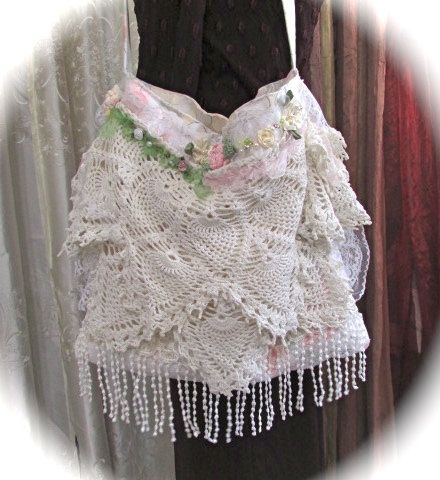 Layered Doily Purse in a shabby romantic style embellished with white laces and doilies, handmade fabric purse by Tattered Delicates