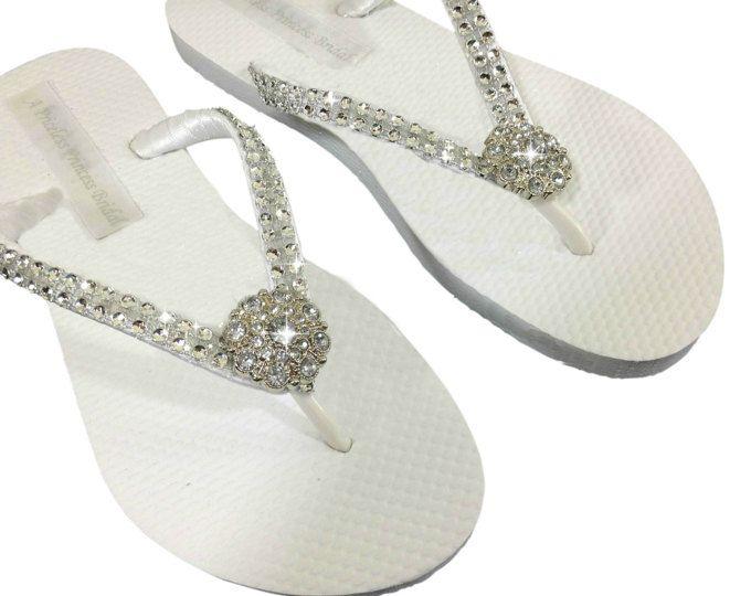 Rhinestone Bridal Flip Flops - Bridal Flip Flops - Bridesmaid Flip Flops - Crystal Flip Flops - Beach Wedding - Beach Sandals - 8 Colors