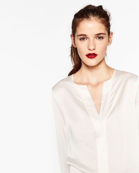 Image 4 of FLOWING SATEEN BLOUSE from Zara