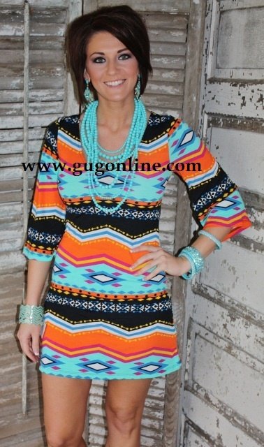 Giddy Up Glamour  $29.95  Fabric of Life REMIX Aztec Print Dress