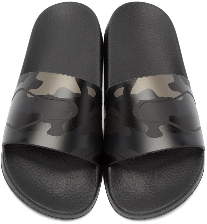 Valentino - Black Camo Slide Sandals