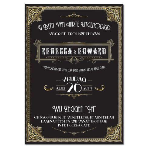 Trouwkaart: Great Gatsby (Metallic) http://www.weddingdesigns.nl/