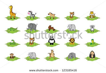 wild animal grass land set