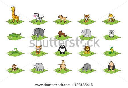 wild animal grass land set