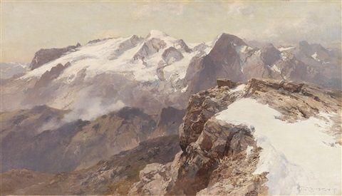 Ansicht der Marmolata vom Piz Boè aus , 1917 - Edward Theodore Compton