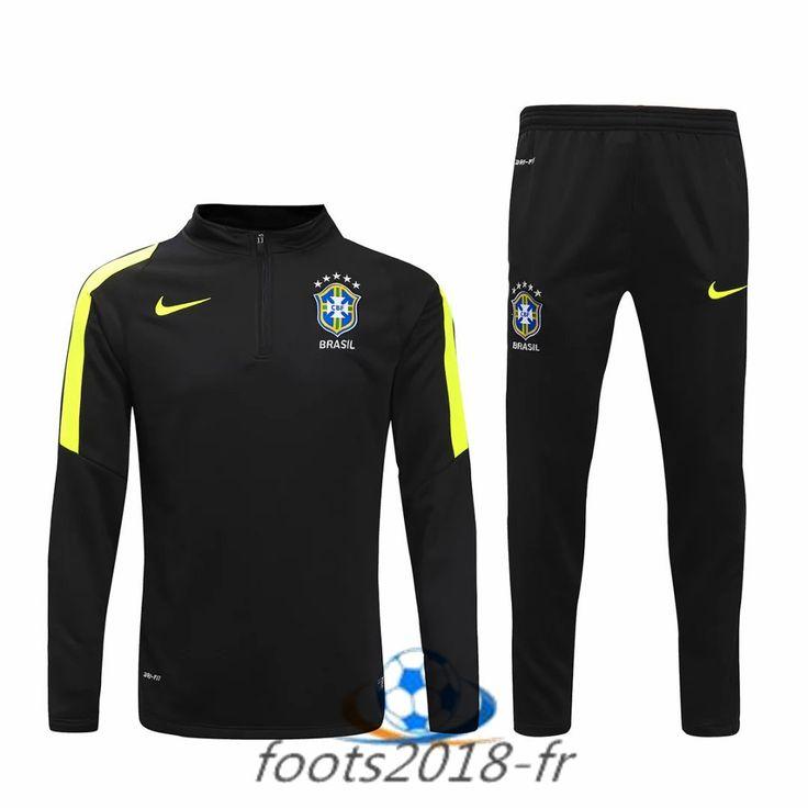 Nouveau Survetement de foot Bresil Noir 2016 2017