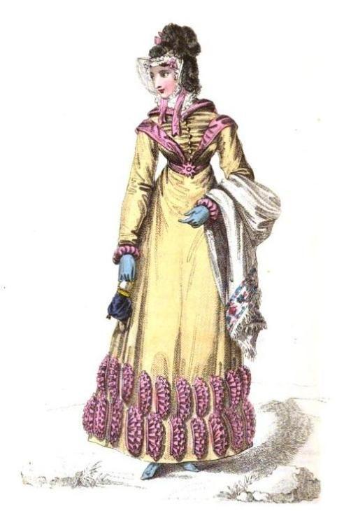 La Belle Assemblee, Englisches Wanderkleid, Oktober 1820. Ich kann die gefalteten Kaffeefilterdekorationen auf diesem Kleid irgendwie verzeihen, weil …