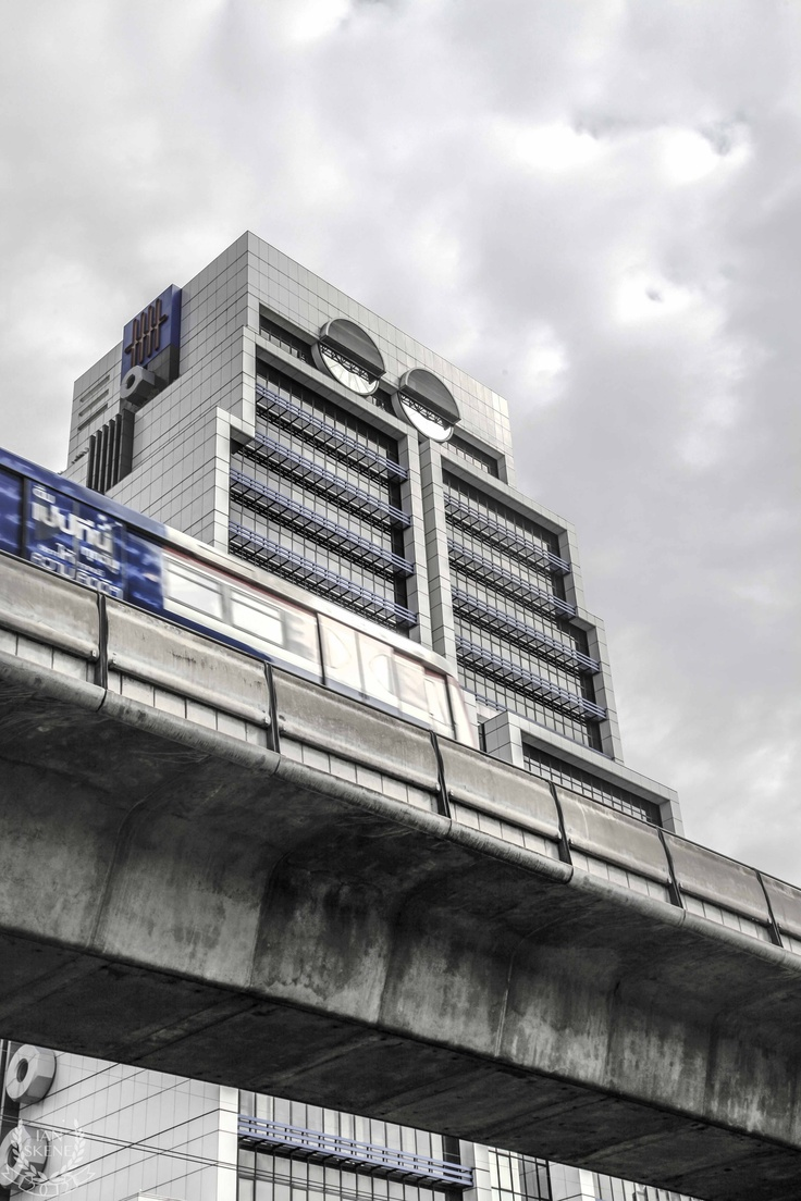 Building that resembles a Robot, You can also see the Bangkok Sky Train Going Past! Bangkok June 2012