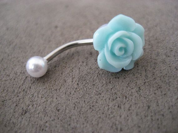 Mint Green Pearl Turquoise Rose Belly Button Ring