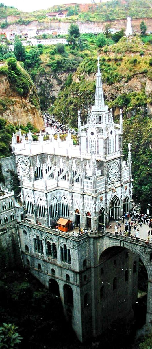 Travelling - Santuario de las Lajas, Colombia This place looks like Dracula's Castle from Van Helsing.