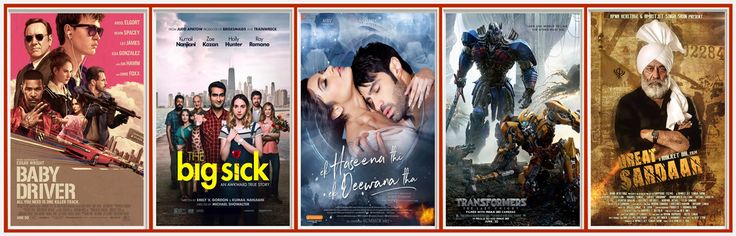 Here Collection of new Movies BAY DRIVER,THE BIG SICK,EK HASSENA THI EK DEEWANA THA,TRANSFORMERS,GREAT SARDAAR is going to by Release tomorrow.Check out nearby theaters now