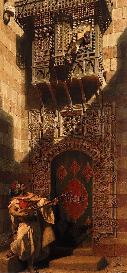 'A serenade in Cairo.' Artist Carl Haag 1820-1915