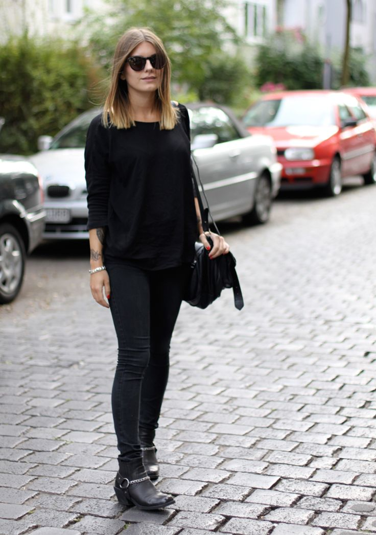 outfit: all black and biker boots. : Hoard of Trends