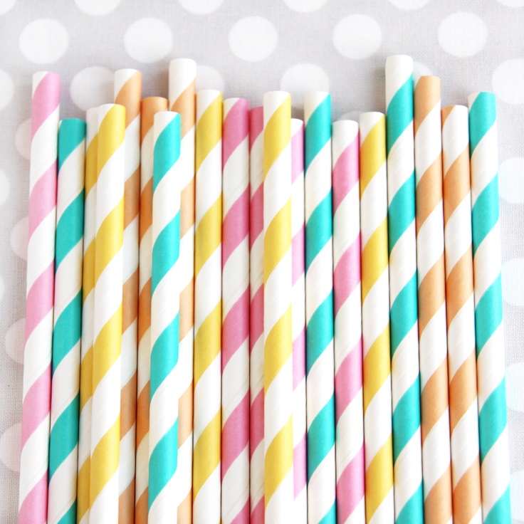 Summer Sunshine Stripey Straws from Shop Sweet Lulu. This site has amazing party goods!