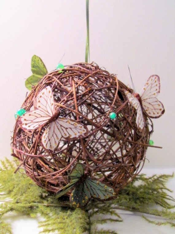 cute fairy ball. willow ball for wedding decorations could also put small hearts on it in vintage bookpaper or red felt for valentines instead of butterflies