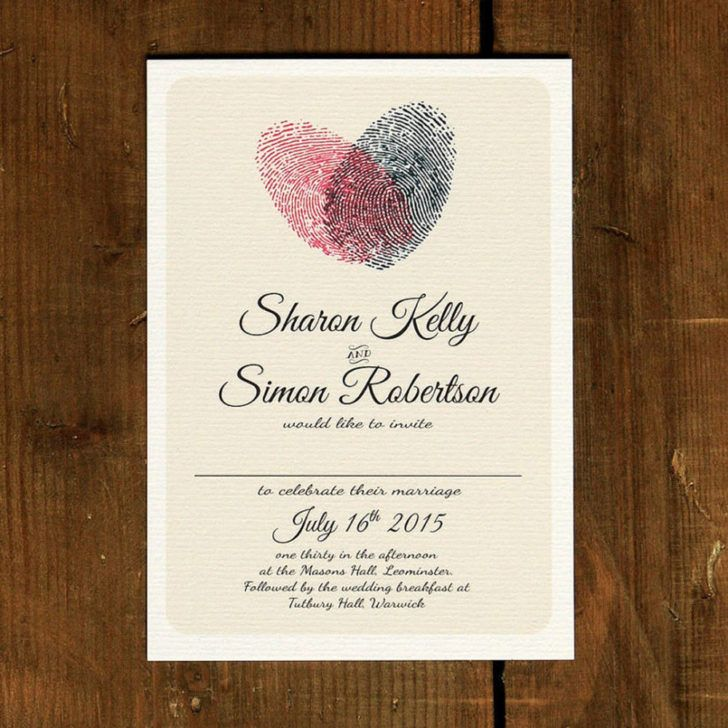 second wedding invitations wording%0A Wedding  Heart Shaped Fingerprints Wedding Invitation Wording Template  Black Text Wedding Invite