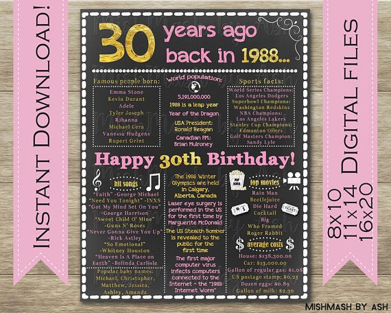 30th Birthday For Her, 1988 Birthday Sign, Back in 1988, Happy 30th Birthday Decor, 30th Birthday Ideas, MishMash by Ash