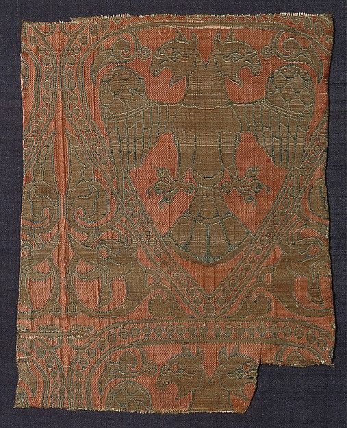 Textile fragment with Double-Headed Eagle and Flanking Dragons' Heads | The Met 13th c. The lavish medium and the animals with imperial connotations suggest that this finely woven textile was probably commissioned by or for a member of the Anatolian elite. The color red was associated with Rum Seljuq royalty and other dynasties in the Mediterranean, most notably in Byzantium and the Trebizond empire