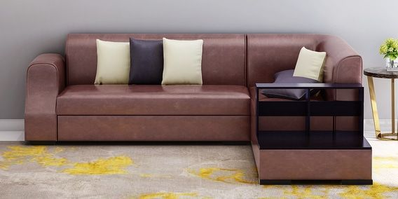 Arlo Lhs Sectional Sofa In Tan Brown Leatherette By Muebles Casa