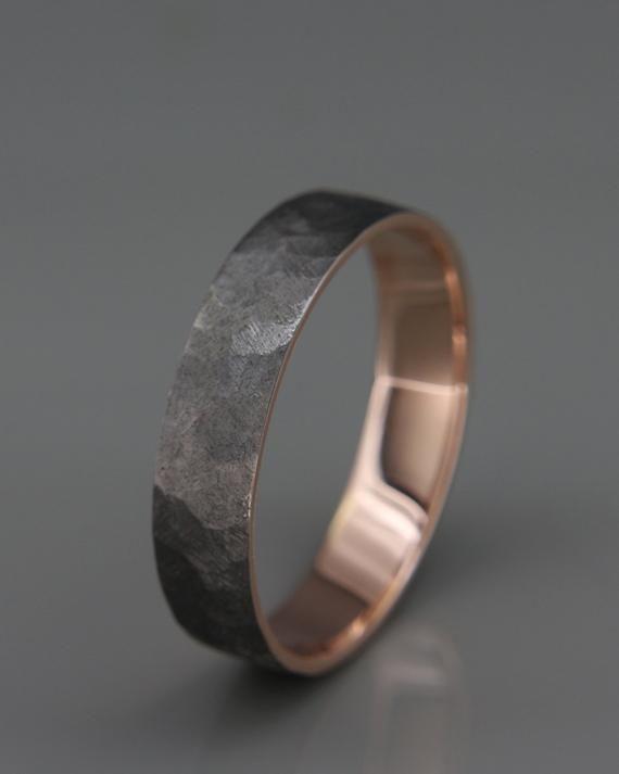 Black 14k Rose Gold Men S Wedding Ring Handmade 14k Solid Etsy Mens Rose Gold Wedding Ring Mens Wedding Rings Men S Wedding Ring