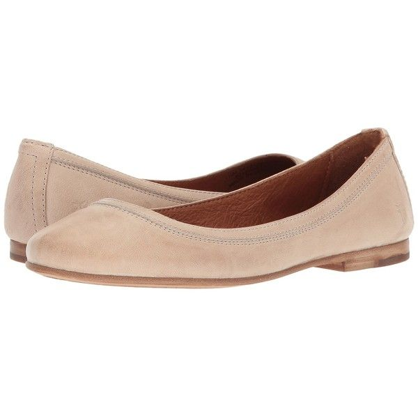 Frye Carson Ballet (Cream Antique Soft Vintage) Women's Flat Shoes (515 PEN) ❤ liked on Polyvore featuring shoes, flats, leather ballerina flats, cream flats, ballet pumps, ballerina pumps and leather shoes