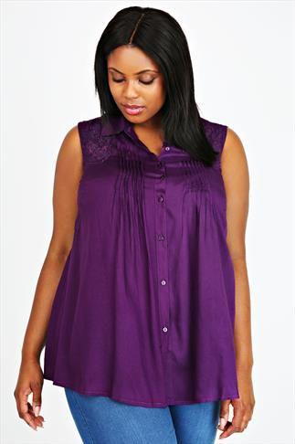 Purple Pintuck Sleeveless Longline Blouse With Cut Work