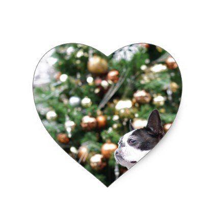 Boston Terrier Pug Dog Christmas Heart Sticker - christmas craft supplies cyo merry xmas santa claus family holidays