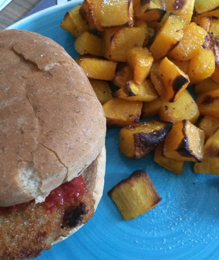 Fish burger with roasted butternut squash cubes 484 calories and absolutely scrummy!!