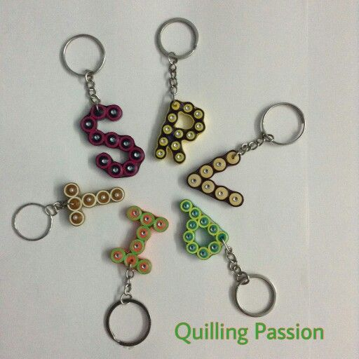 Quilled alphabet key chains