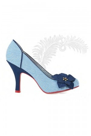 Ruby Shoo Lilian navy blue white striped court shoes with vintage nautical inspired floral feature, the perfect summer shoe