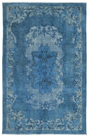 Turquoise  Over Dyed Carved Rug 6'2'' x 9'11'' ft 187 x 301 cm