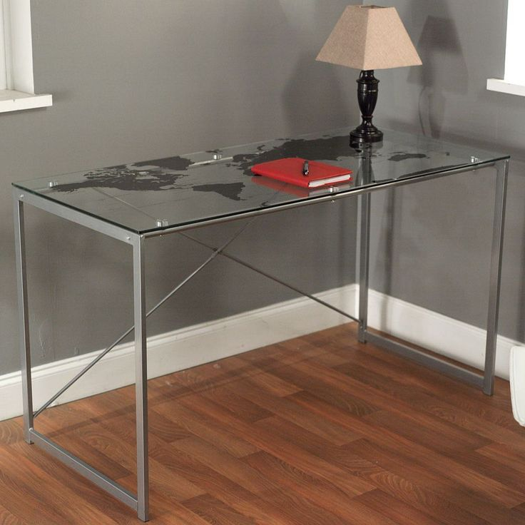 bring a modern look to any office or bedroom with this glass top desk