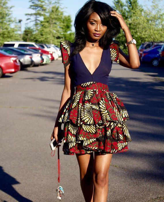 5e8fd65dafe0 African Print Plunge Neckline Dress- Ankara Flare Short Dress- Ankara Print  - African Dress - Handma