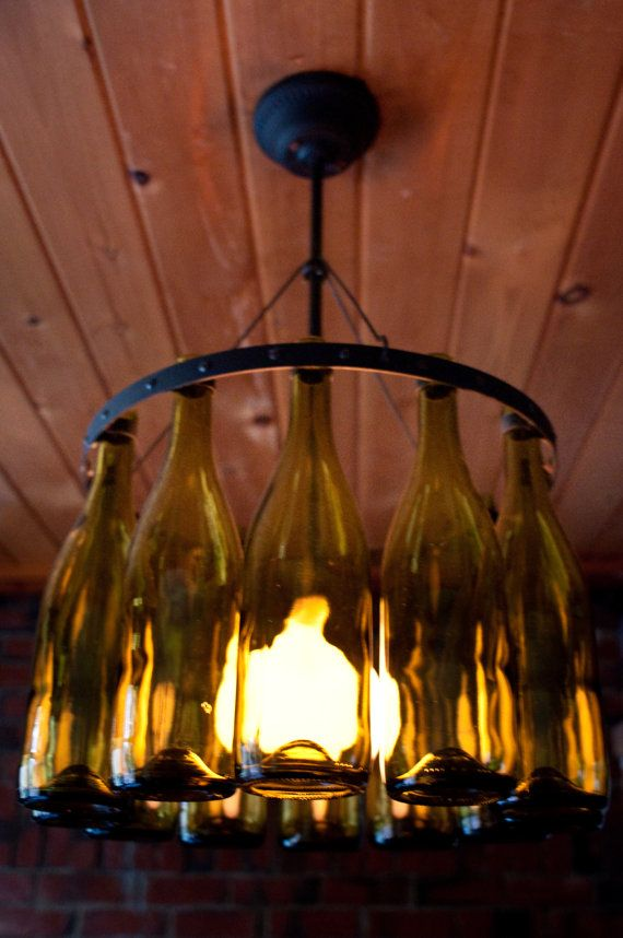 Recycled wine bottle chandelier by hmsc93 on etsy for How to make your own wine bottle chandelier