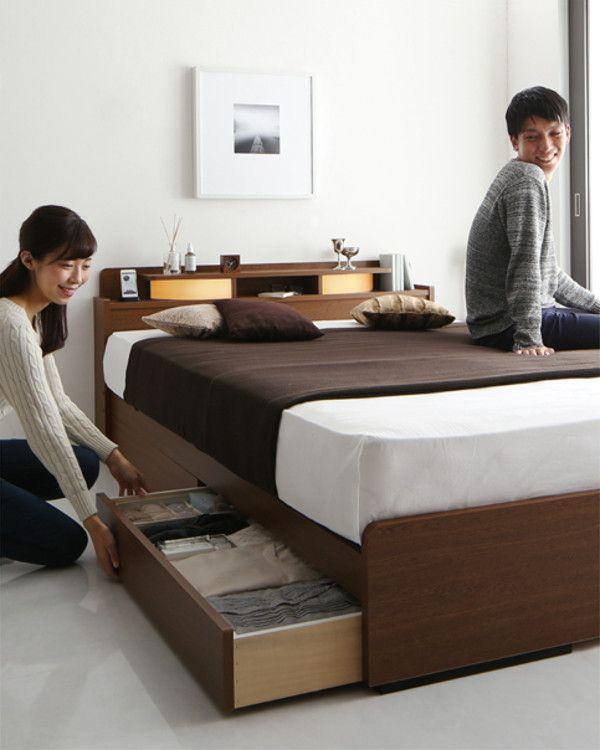 Roi Long は長身の方でもゆったりと寝れるロングサイズの収納ベッドです ベッド 寝室 寝室インテリア 和モダンインテリア 大人インテリア 収納ベッド ロングサイズ 照明 ヘッドボード 国産 日本製 収納ベッド ベッド 寝室