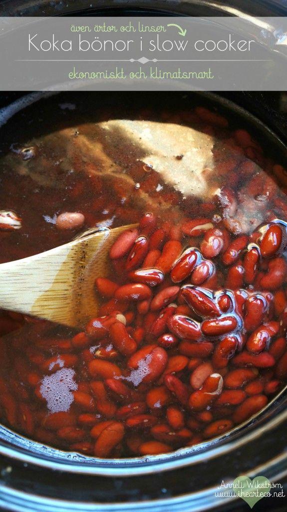 Koka bönor i slow cooker