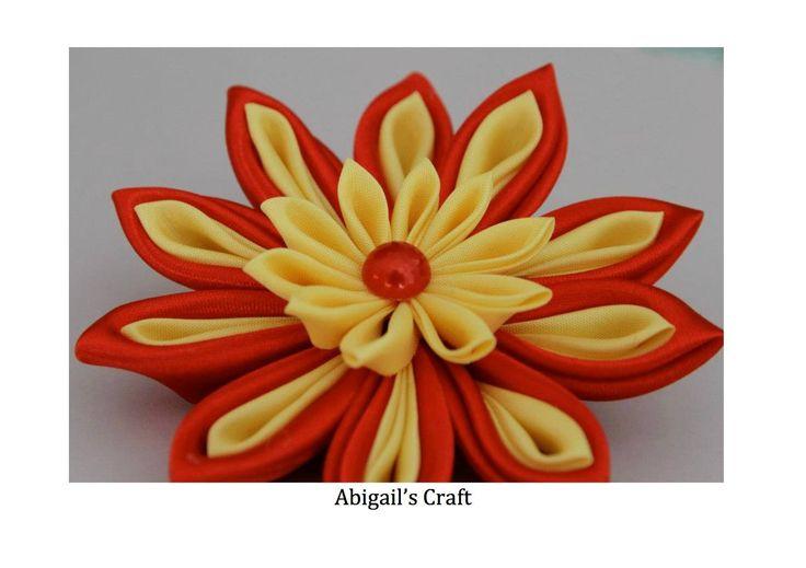 Handmade by Abigail @ Abigail's Craft Two tier kanzashi hair clip