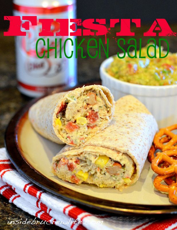Fiesta Chicken Salad - chicken salad made with corn, beans, spicy tomatoes, and cilantro lime mayonnaise.  #chickensalad #fiesta  http://www.insidebrucrewlife.com