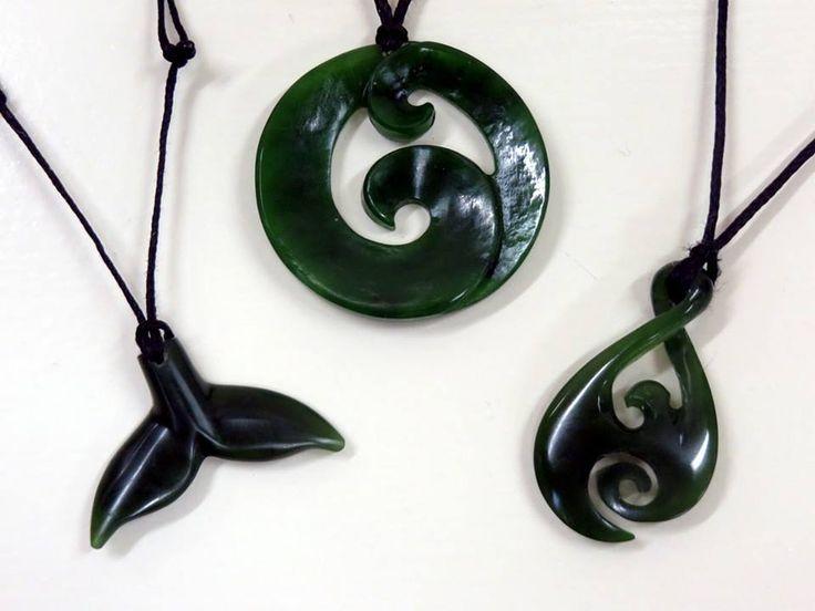These hand-crafted Pounamu (Greenstone) pendants are by the talented Barry Dash of Hokitika - Koru $150, infinity $140 and the whale tail $70. #pounamu #jewellery #nzmade