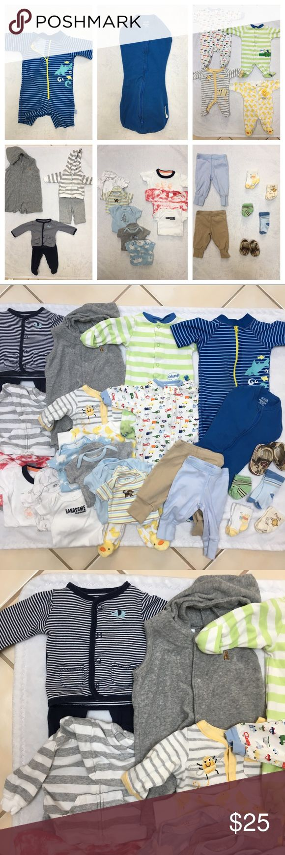 BOYS NEWBORN LOT, 25 pieces, swim outfit included 3 outfits, 4 sets of pajamas, 8 bodysuits, 2 pairs of pants, 1 swim outfit with sun protection, 1 sleep sack, 1 pair of shoes, 4 pairs of socks. Brands include Carters, Baby Gap, Bambini, Cherokee, Babies R Us, Gerber, Summer, and I Play. Worn but in good condition. Pet-free and smoke-free home. Other